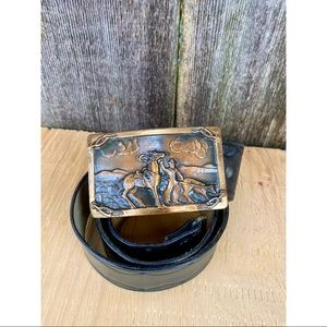 VINTAGE genuine leather dark brown cowboy/horse western style belt